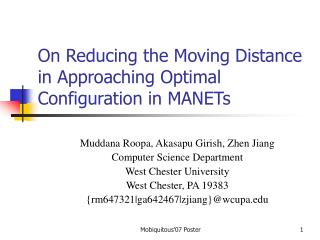 On Reducing the Moving Distance in Approaching Optimal Configuration in MANETs