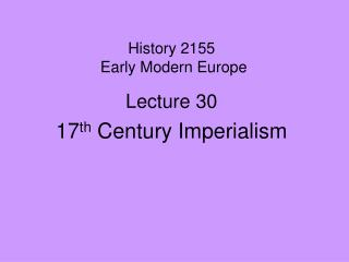 History 2155   Early Modern Europe