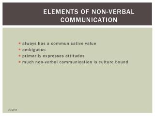 Elements of Non-verbal Communication
