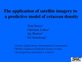 The application of satellite imagery to  a predictive model of cetacean density