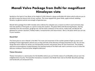 Manali Volvo Package from Delhi for magnificent Himalayan vi