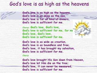 God s love is as high as the heavens
