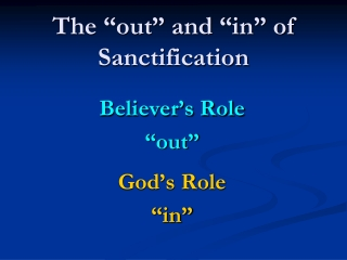 Sanctification  Perseverance