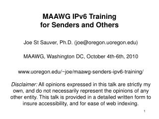 MAAWG IPv6 Training  for Senders and Others