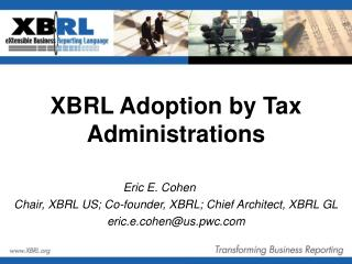 XBRL Adoption by Tax Administrations