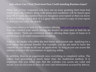 bad credit short term loans