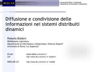 Diffusione e condivisione delle informazioni nei sistemi distribuiti dinamici