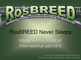 RosBREED Never Sleeps Integration  value of international partners