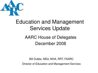 Education and Management Services Update