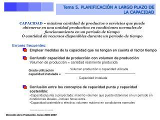 Tema 5. PLANIFICACI N A LARGO PLAZO DE LA CAPACIDAD