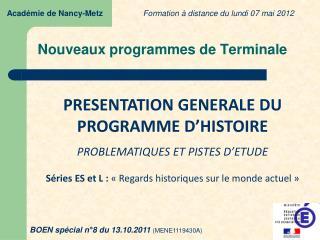 Nouveaux programmes de Terminale