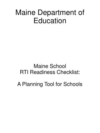 Maine Department of Education