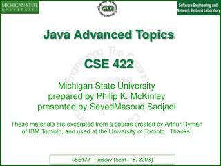 Java Advanced Topics  CSE 422