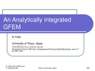 An Analytically integrated GFEM