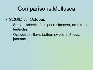 Comparisons:Mollusca
