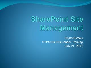 SharePoint Site Management