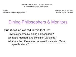 Dining Philosophers  Monitors