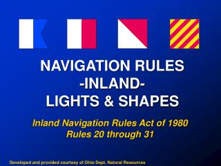 NAVIGATION RULES -INLAND- LIGHTS  SHAPES