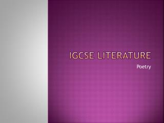 IGCSE Literature