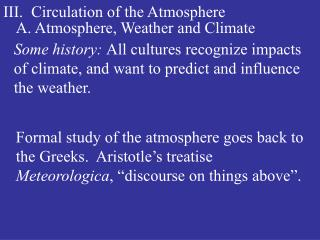 III.  Circulation of the Atmosphere