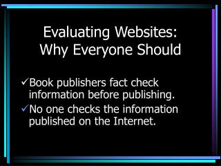 Evaluating Websites: