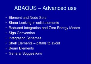 ABAQUS   Advanced use