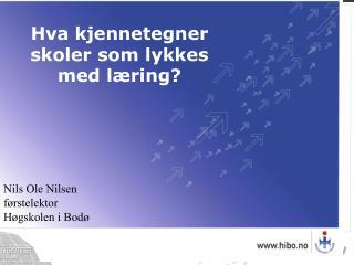 Nils Ole Nilsen f rstelektor H gskolen i Bod