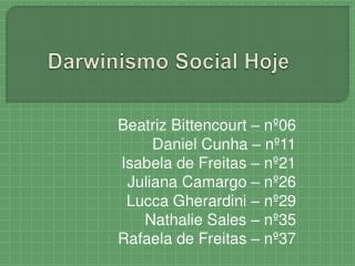 Darwinismo Social Hoje