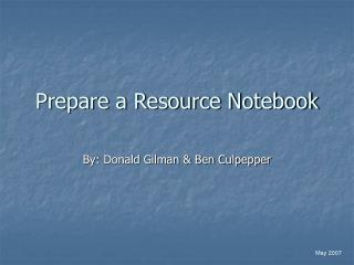 Prepare a Resource Notebook