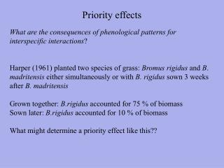 Priority effects