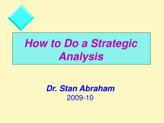 How to Do a Strategic Analysis