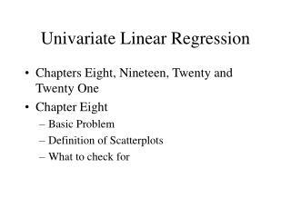 Univariate Linear Regression