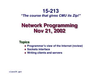 Network Programming Nov 21, 2002