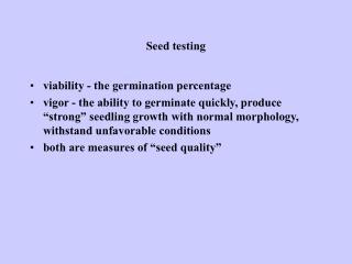Seed testing