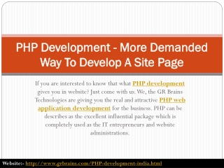 PHP Development - More Demanded Way To Develop A Site Page