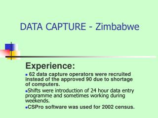 DATA CAPTURE - Zimbabwe