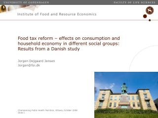 Food tax reform   effects on consumption and household economy in different social groups: Results from a Danish study