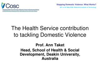 The Health Service contribution to tackling Domestic Violence
