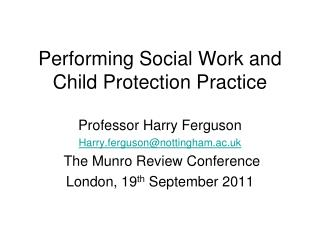 Performing Social Work and Child Protection Practice