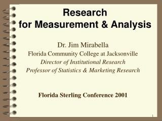 Research  for Measurement  Analysis