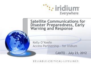 Satellite Communications for Disaster Preparedness, Early Warning and Response