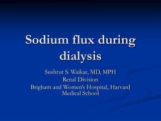 Sodium flux during dialysis