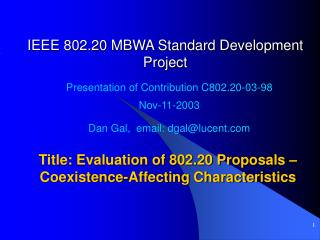 IEEE 802.20 MBWA Standard Development Project
