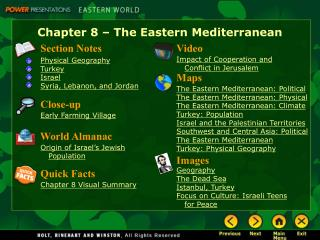 Chapter 8   The Eastern Mediterranean