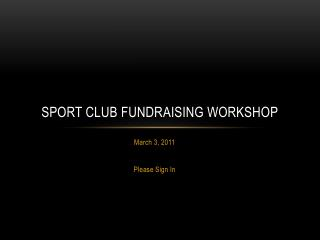 Sport club fundraising workshop