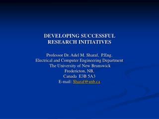 DEVELOPING SUCCESSFUL  RESEARCH INITIATIVES