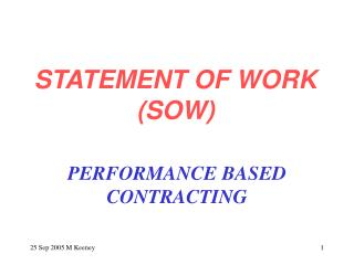 STATEMENT OF WORK SOW