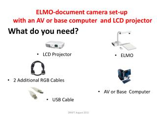 ELMO-document camera set-up  with an AV or base computer  and LCD projector