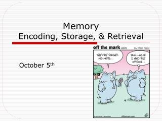 Memory Encoding, Storage,  Retrieval