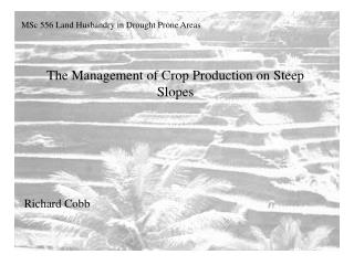 The Management of Crop Production on Steep Slopes